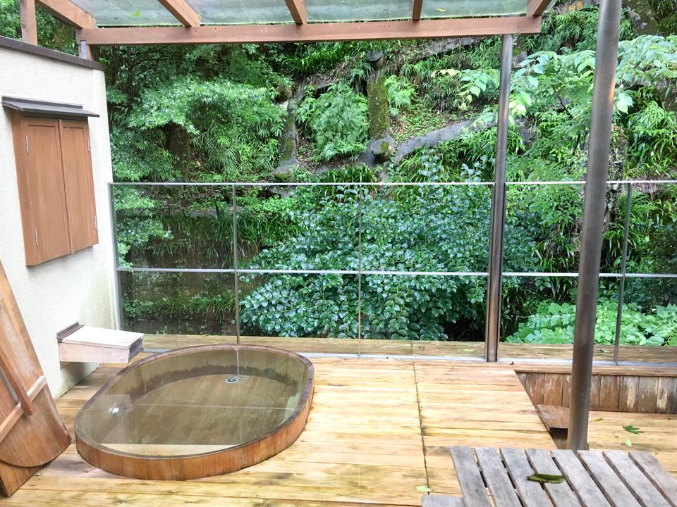 露天風呂脇の鮮やかな木々の写真