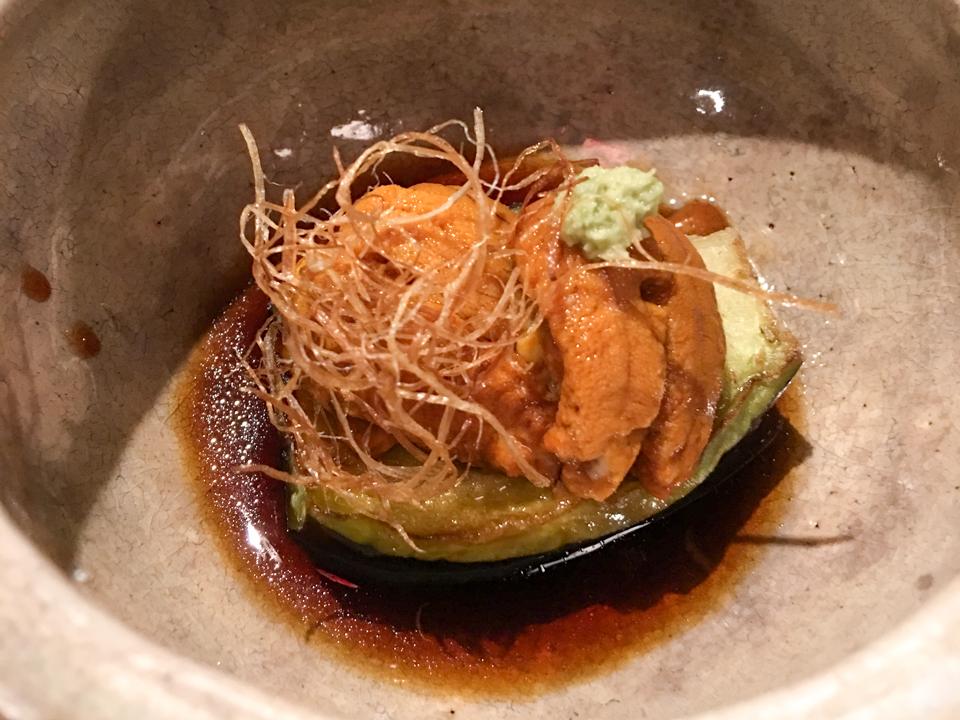 揚物「賀茂茄子 雲丹」の写真
