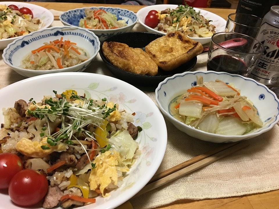 チャーハンの日の夕食の写真
