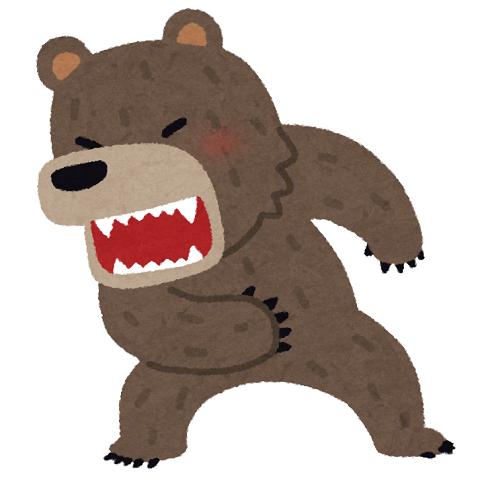 激怒する熊のイラスト