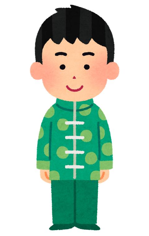 チャイナ服を着た男性のイラスト