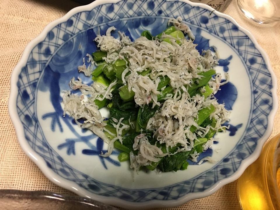 小松菜のしらす和えの写真