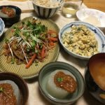 ふろふき大根、大根の皮の炒めものなど大根満載の夕食