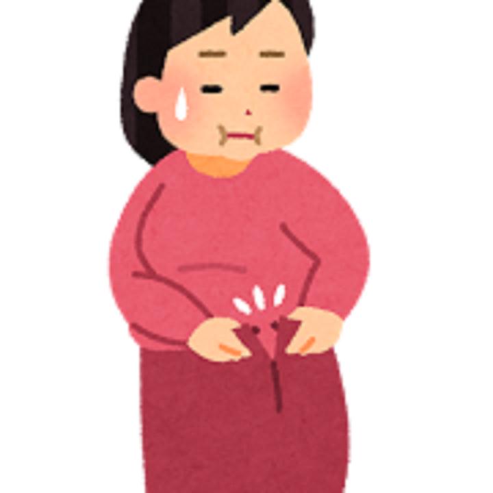 スカートがきつい女性のイラスト