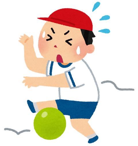 ボールを蹴ることができない男の子のイラスト