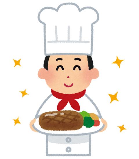 料理を持ったシェフのイラスト
