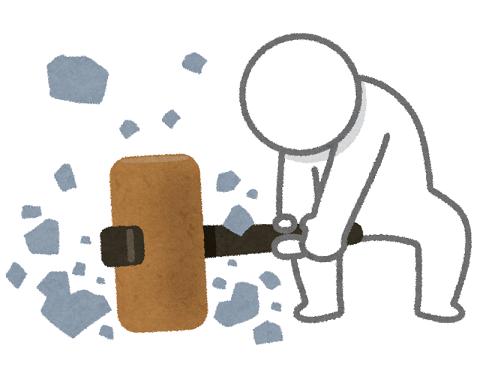 ハンマーで物を壊す人のイラスト