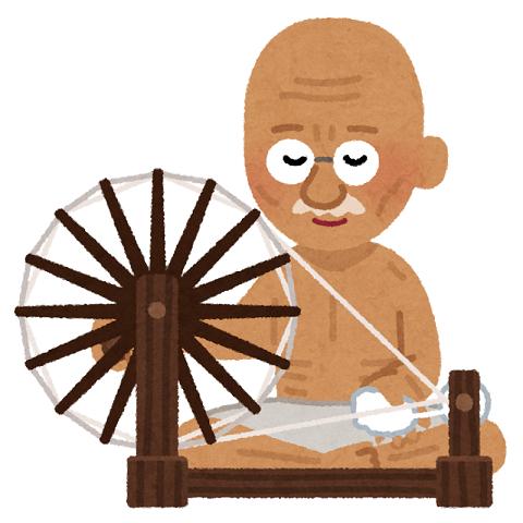 ガンジーが糸車を回すイラスト