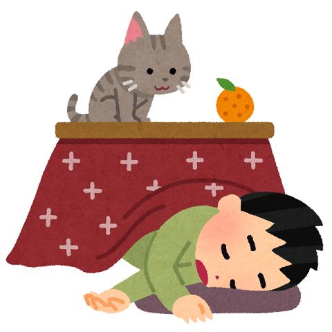 こたつで寝ている男の子のイラスト
