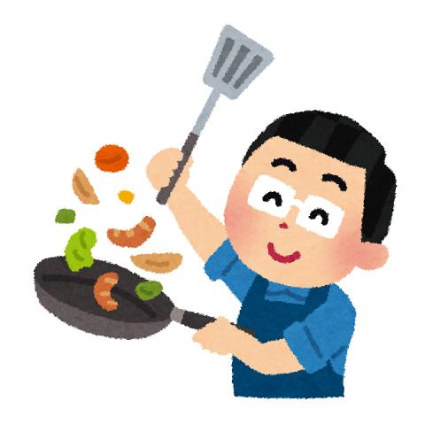 料理する男性のイラスト