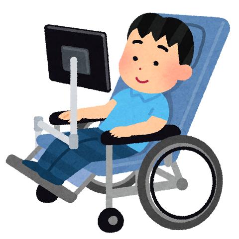 パソコン搭載の車いすに乗る人のイラスト