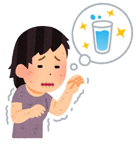 のどが渇いた人のイラスト