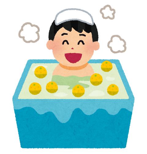 風呂に入っている男性のイラスト