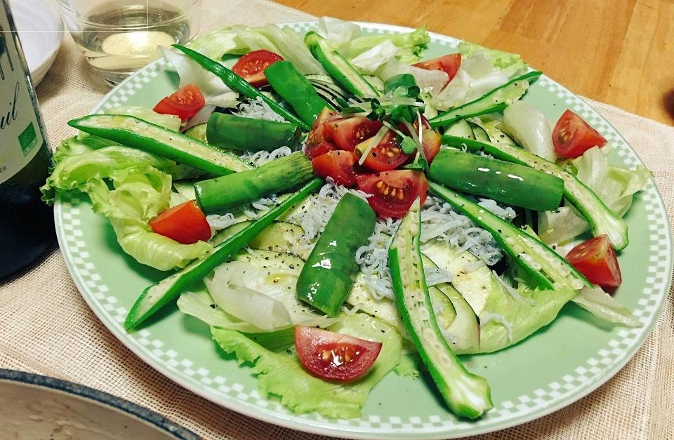 ひもなすと水ナスのしらすサラダの写真