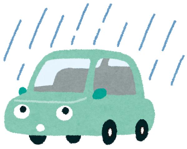 雨の中の車のイラスト