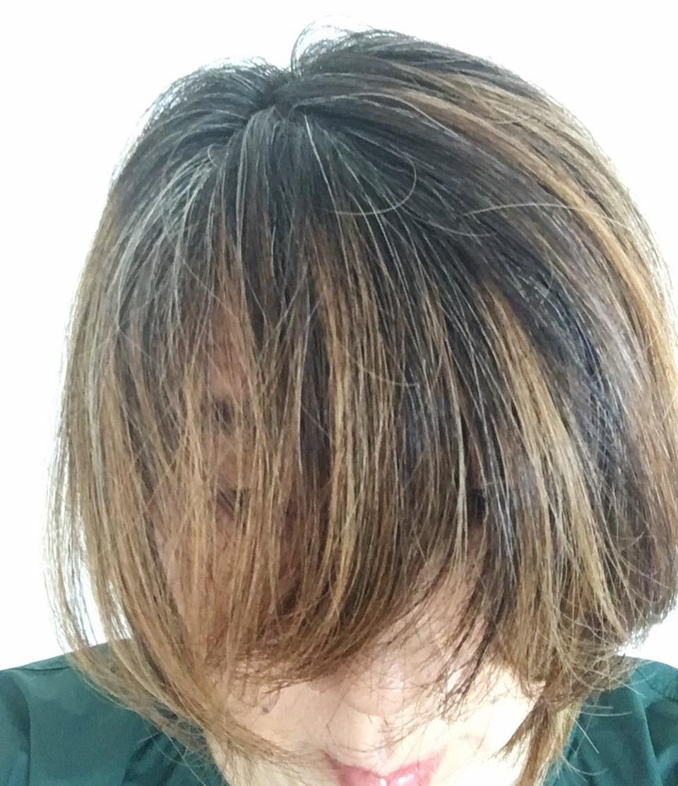 白髪染めをやめて半年の私が髪色がわかるよう前髪を垂らしている写真、カラーリング前、