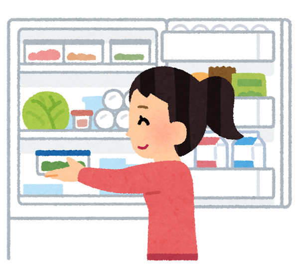 冷蔵庫で食品を冷やす人のイラスト