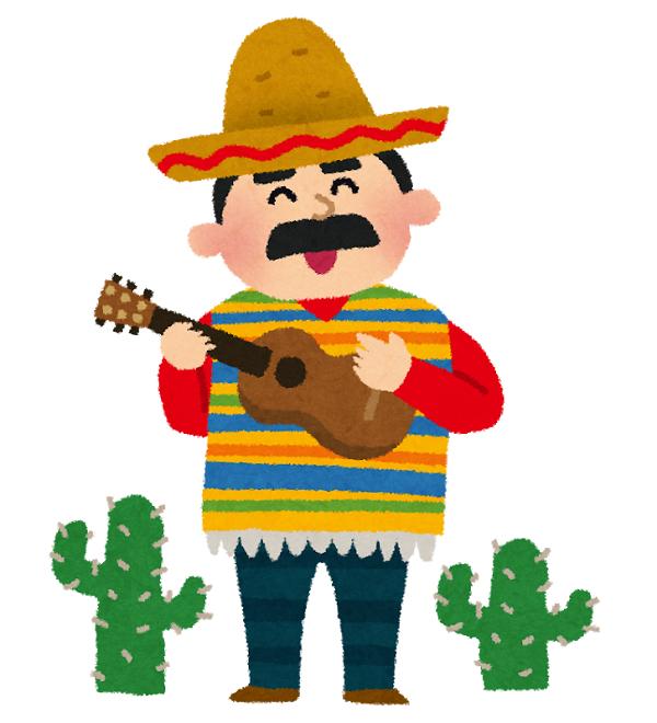 メキシコ人のギタリストのイラスト