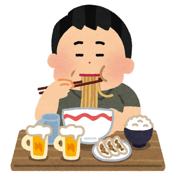 食べ過ぎの男性のイラスト