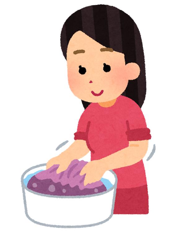 洗濯する女性のイラスト