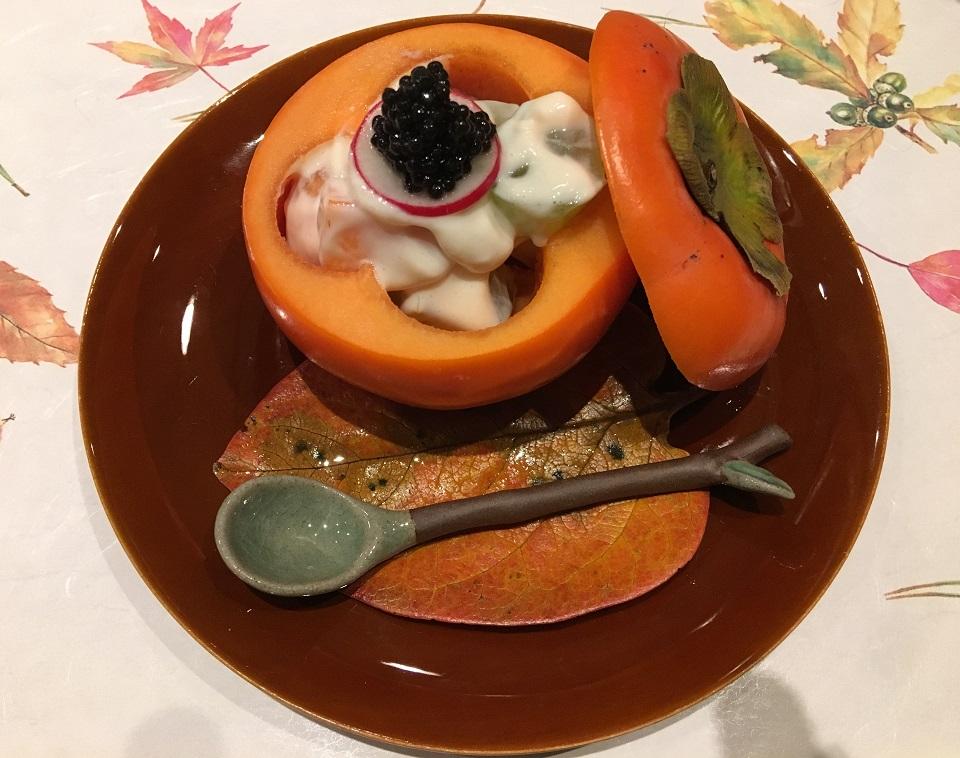 柿とシャインマスカットとキャビアとリンゴの白和えの写真