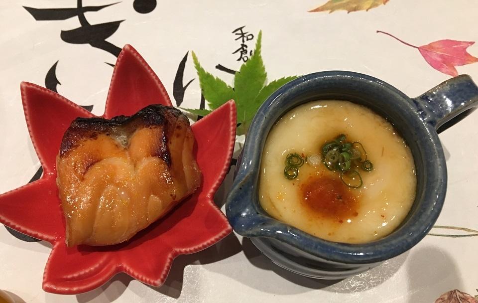 焼鮭と白子の茶碗蒸しの写真