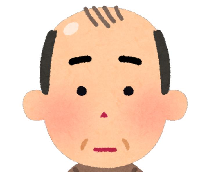 頭部に輝きのある男性のイラスト
