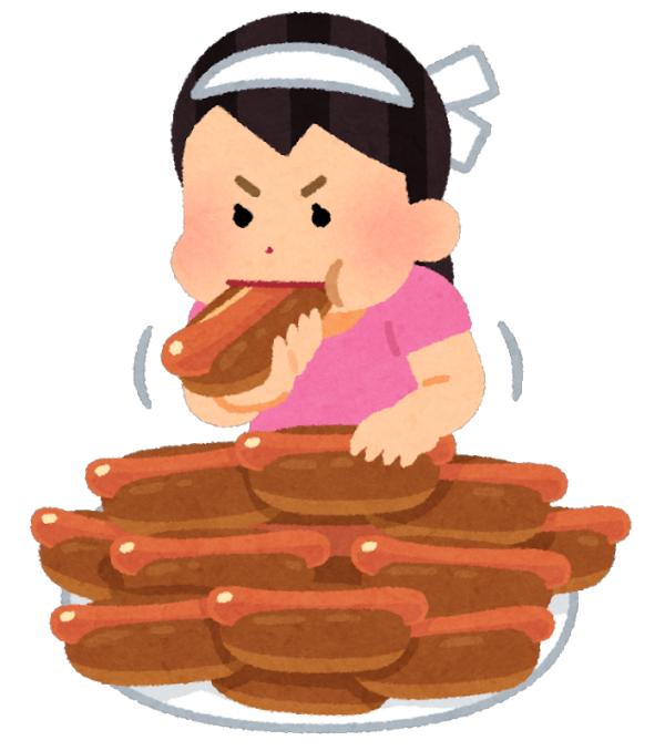 パンをどんどん食べる女性のイラスト