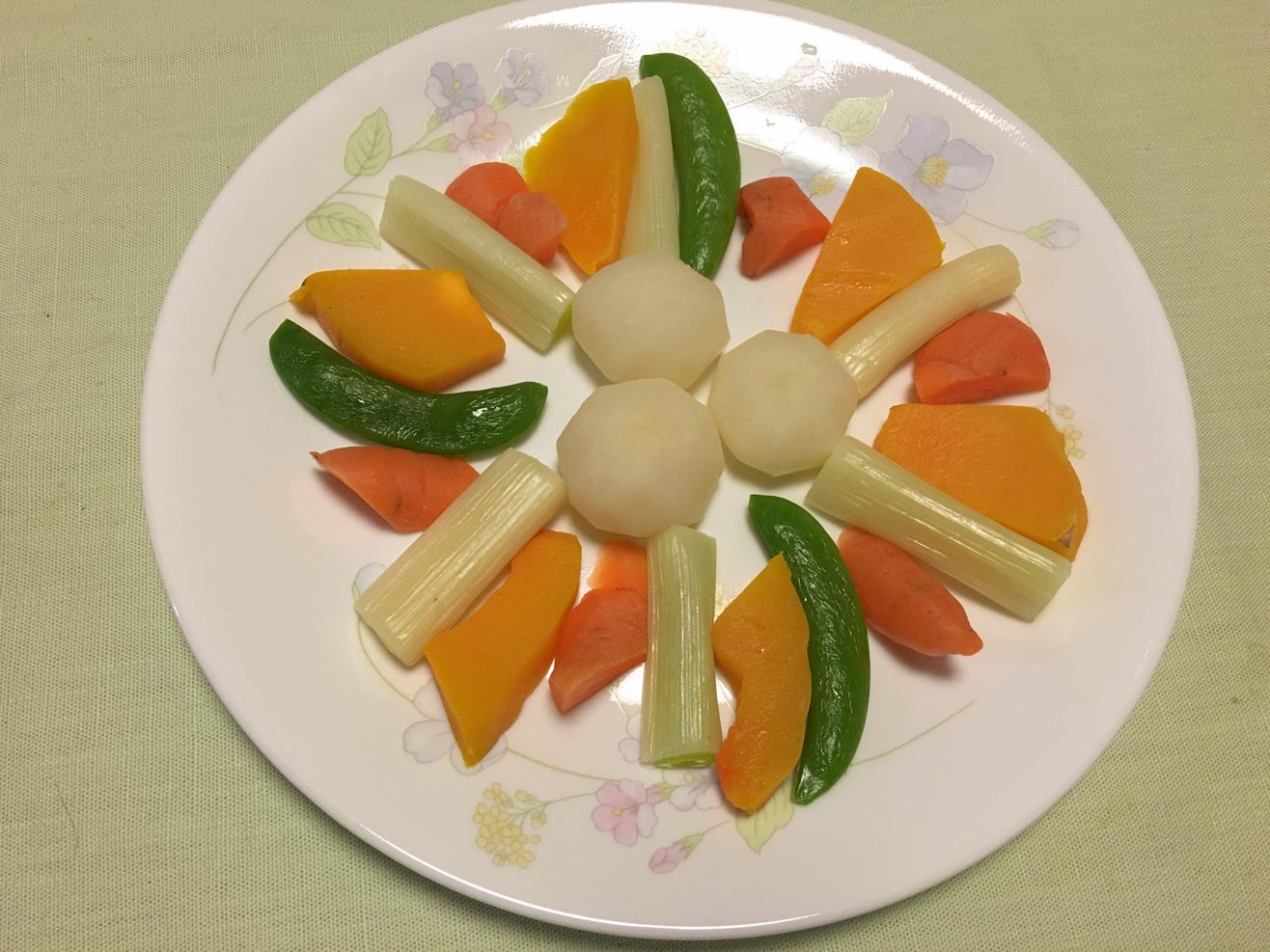 レンチン野菜を皿に盛りつけた写真