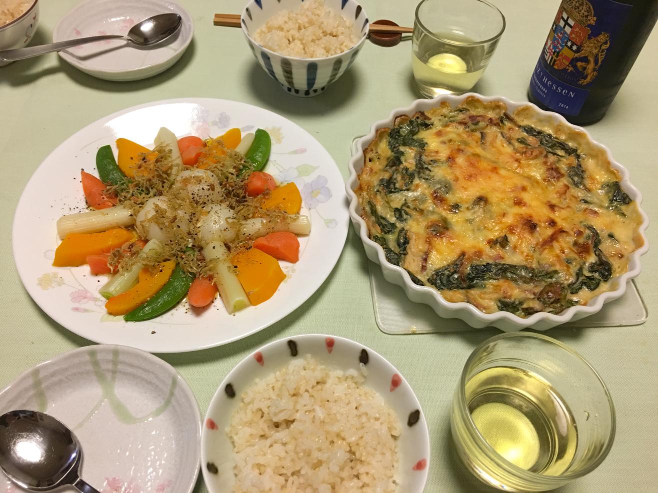 レンチン野菜 with アヒージョソース中心の夕食の写真