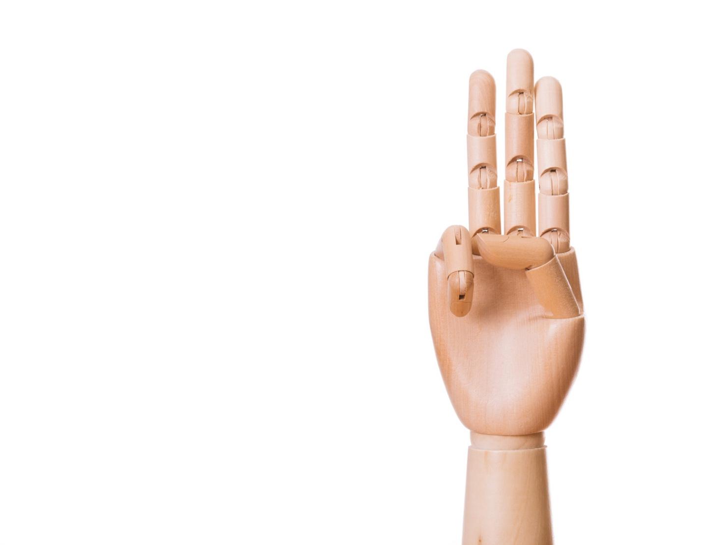 指を3本立てているイラスト