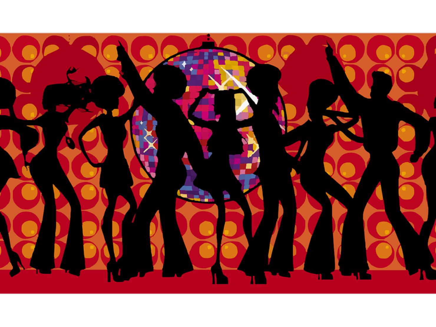 1970年代スタイルで踊る若者のイラスト