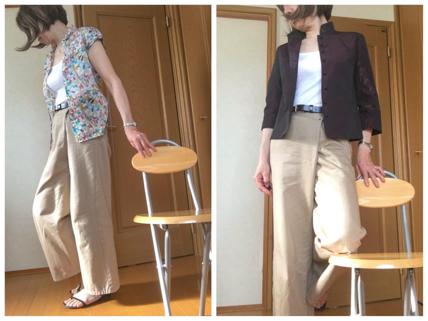白のタンクトップの上にシャツをはおり、古着のパンツを着ている写真