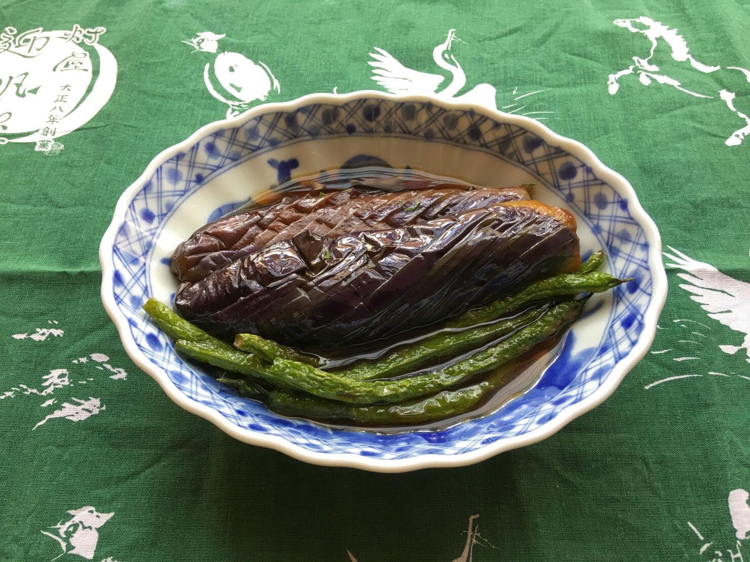 いんげんとナスの揚げ煮の写真