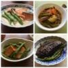 いんげんの煮物の写真のコラージュ