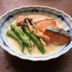 いんげんと鮭の豆乳煮の写真