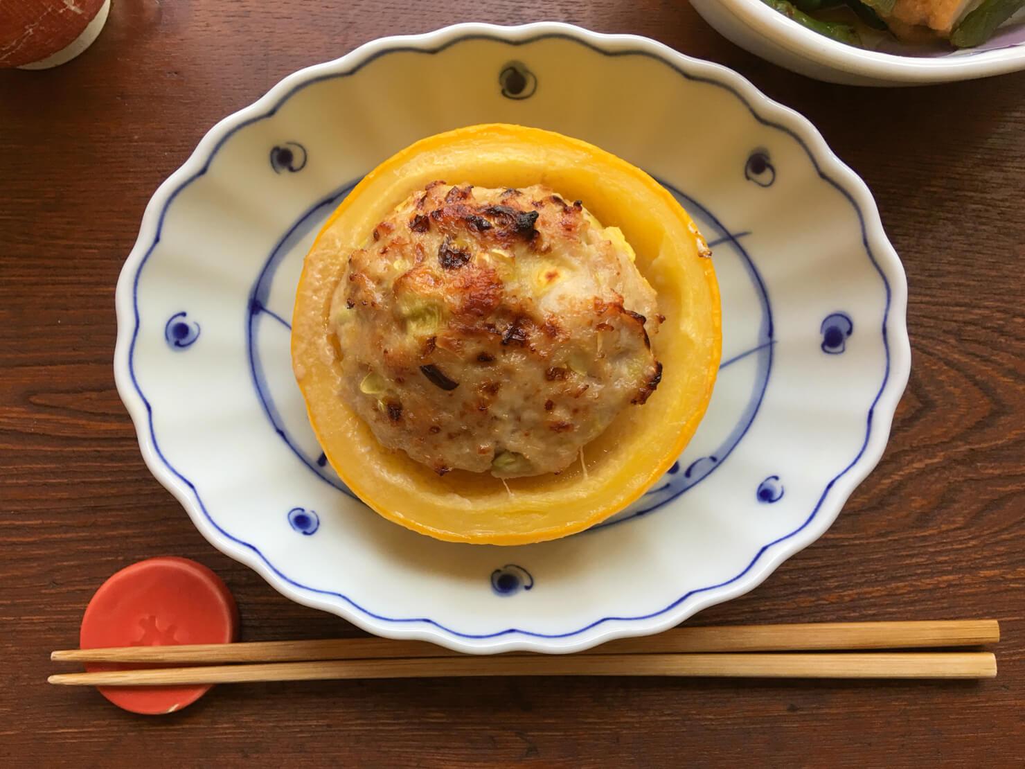 丸ズッキーニの肉詰め焼きの写真