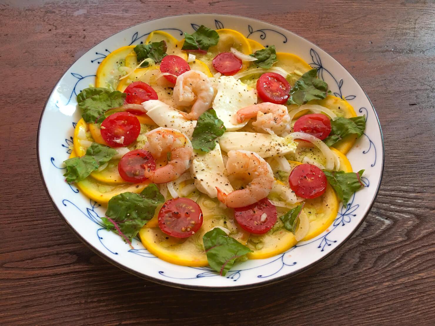 丸ズッキーニのカルパッチョ風サラダの写真