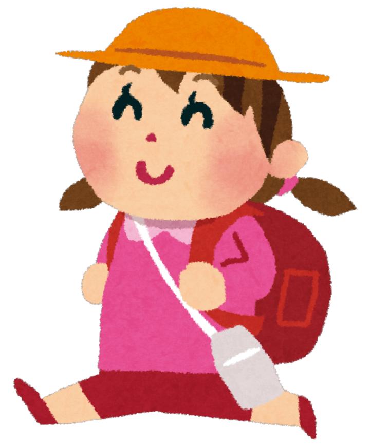 遠足に行く可愛い女の子のイラスト