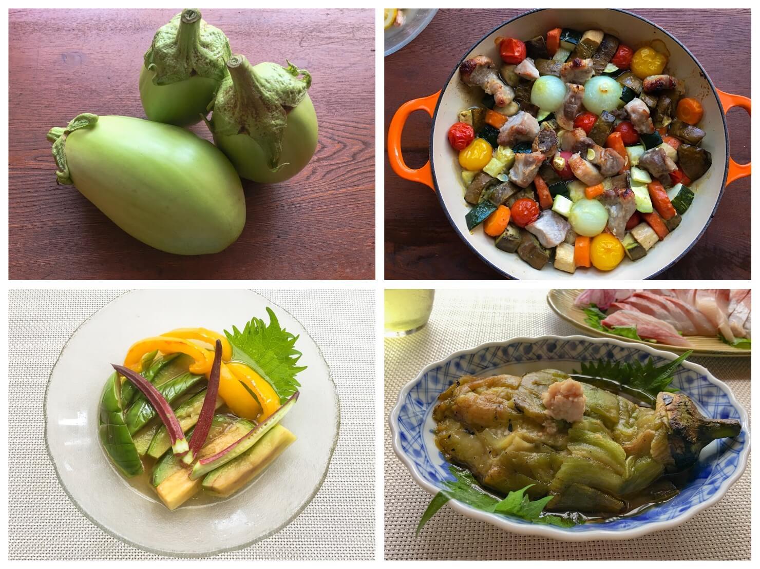 白ナスの料理と白ナスの写真