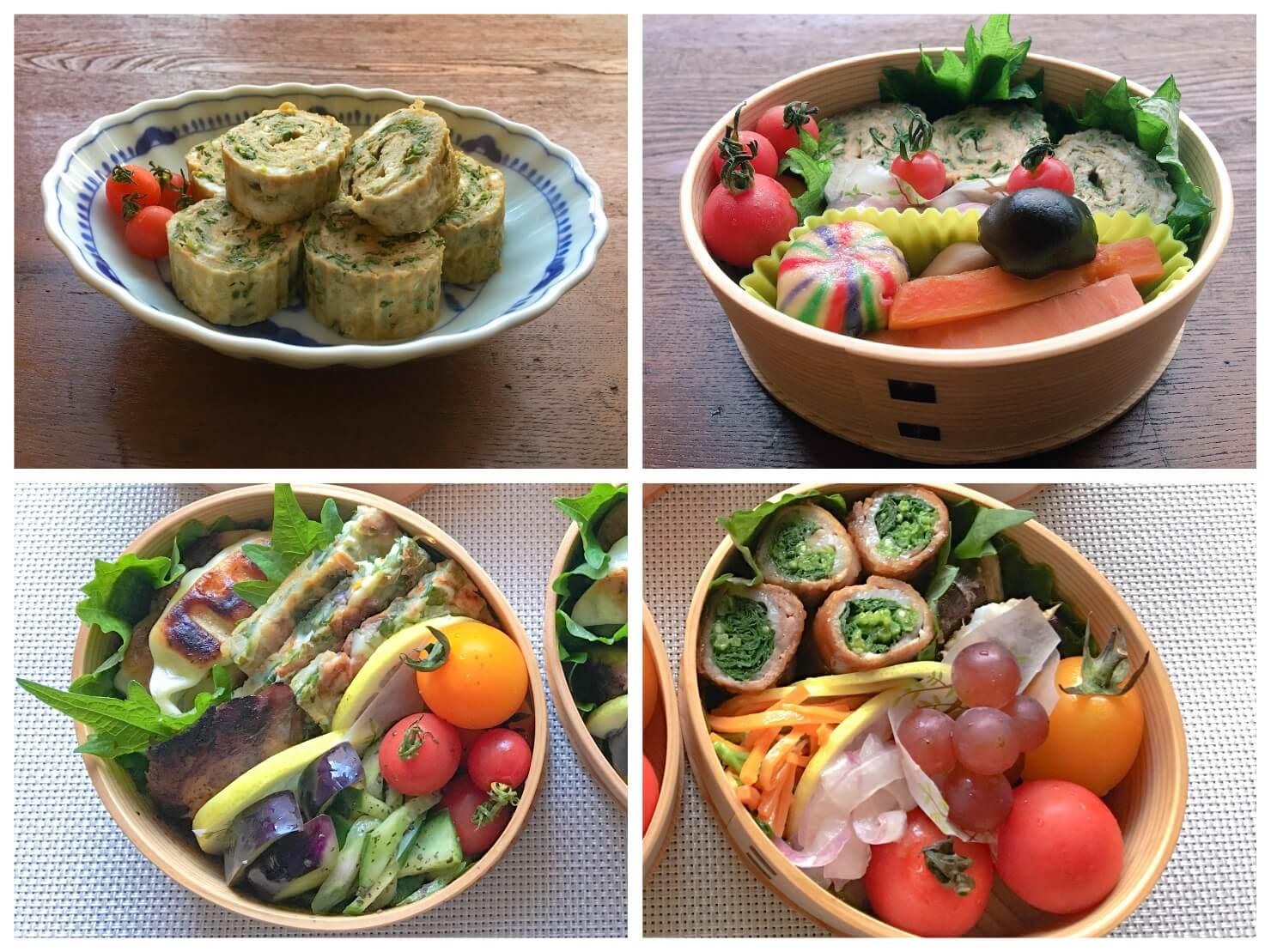 モロヘイヤで作ったおかずやお弁当の写真