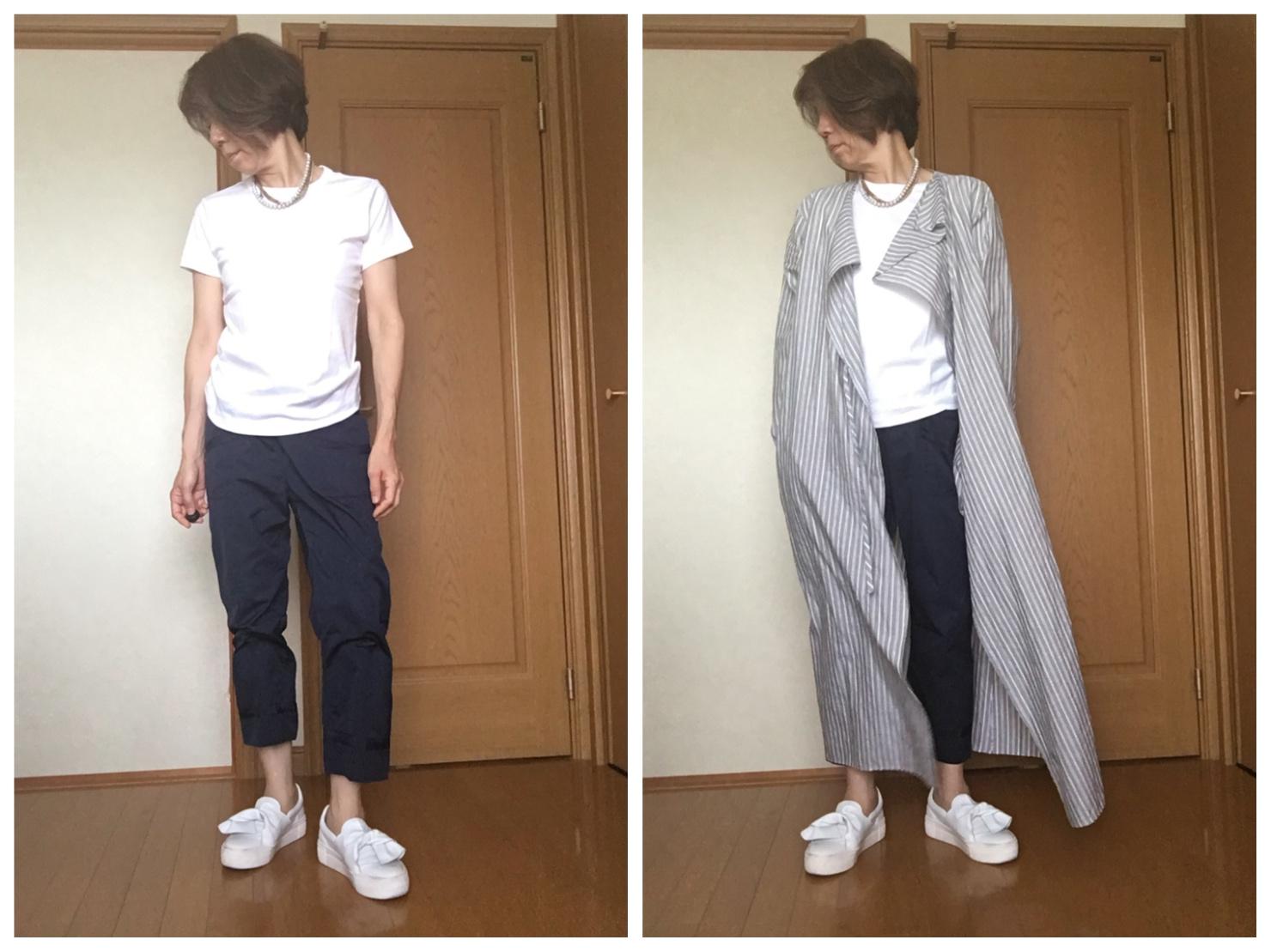 無印良品の白Tシャツと紺のパンツを合わせた写真