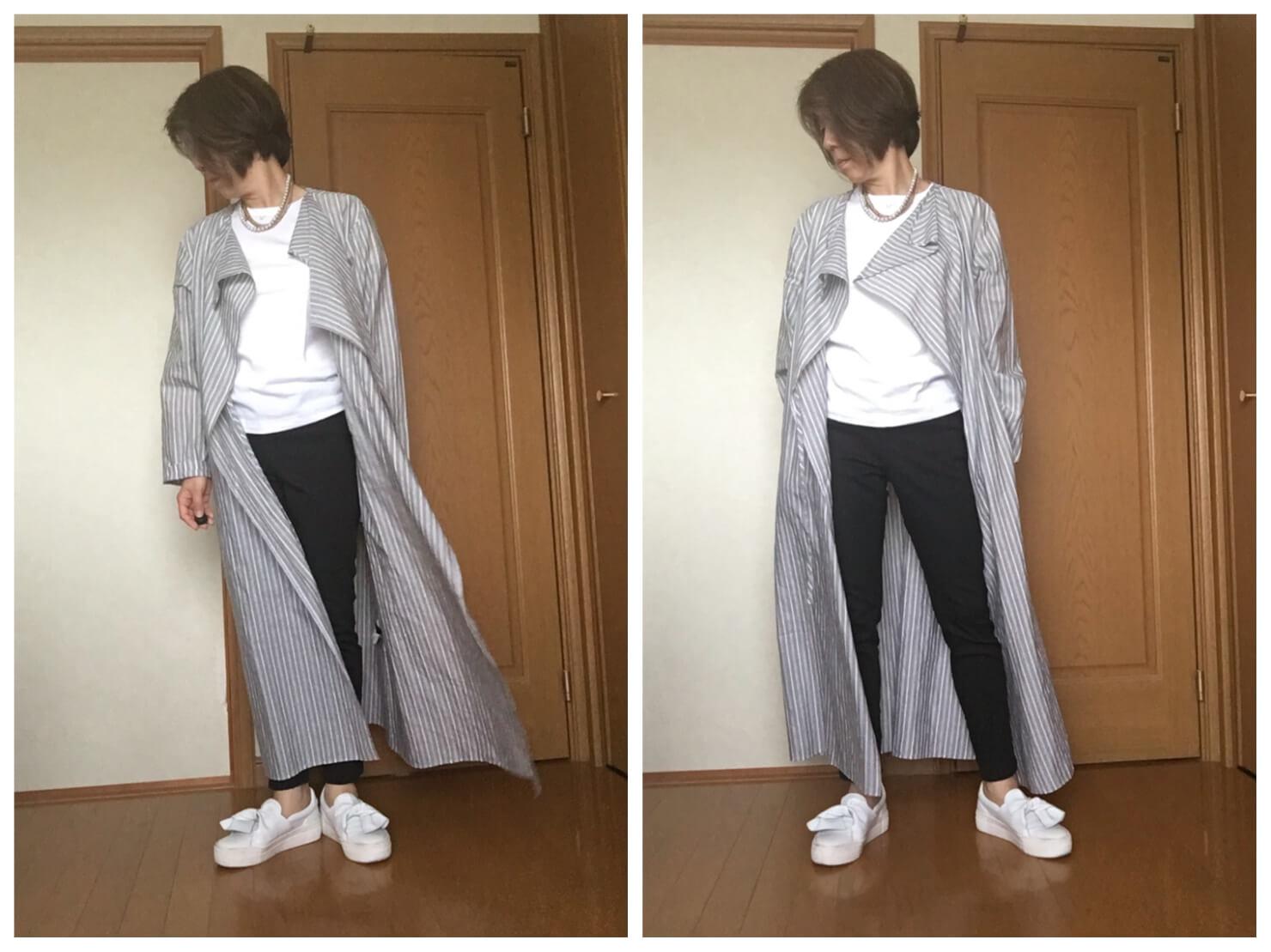 ロングシャツと黒のスキニーデニムのコーディネートの写真