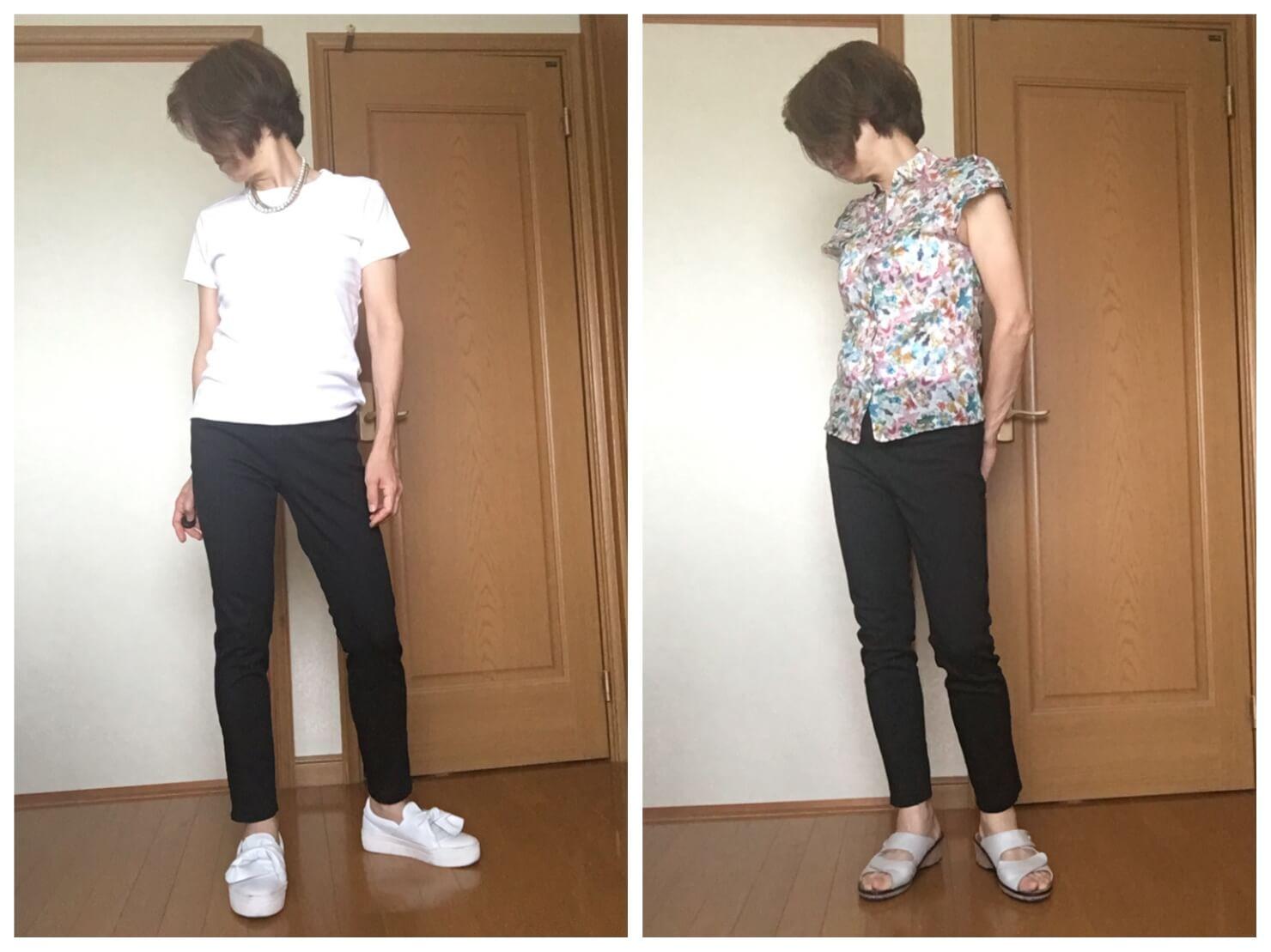 無印良品の黒スキニーパンツと花柄のブラウス、白のTシャツと合わせた写真
