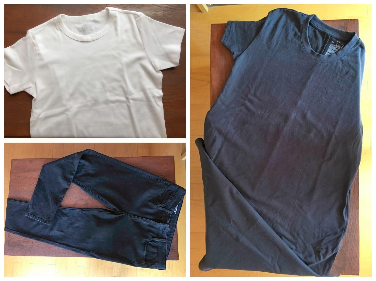 無印良品のAラインワンピース、白のTシャツ、黒のスキニーパンツの写真