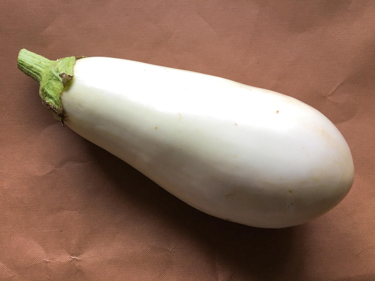 真っ白な白ナスの写真