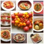 たくさんのトマト料理とトマトの写真