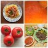 トマトソースやトマトの写真