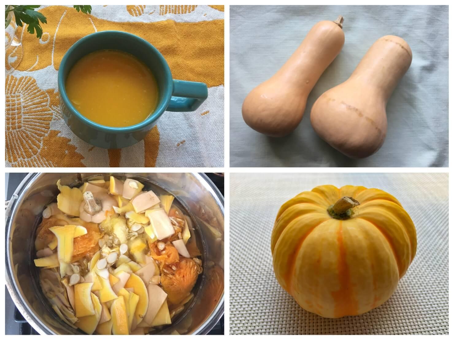 バターナッツかぼちゃとバターナッツカボチャのポタージュスープの写真