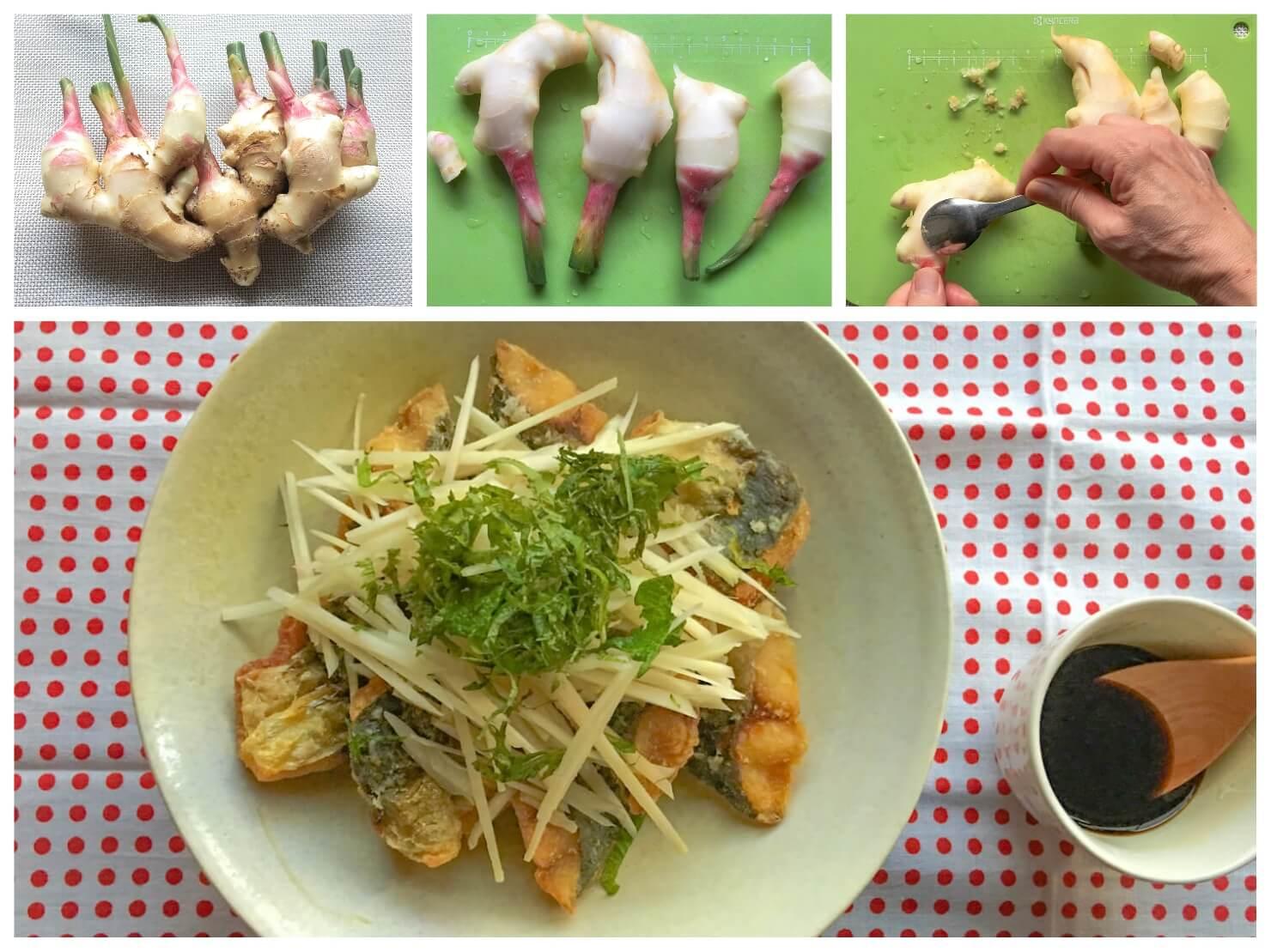 新生姜を食べるアジの唐揚げや新生姜の写真